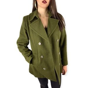 1970's PAUL LEVY wool moss green pea coat